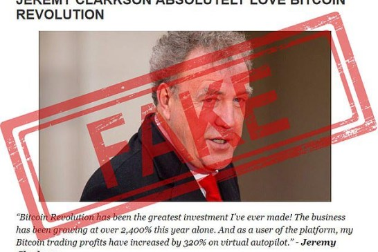Fake Jeremy Clarkson Bitcoin Revolution article