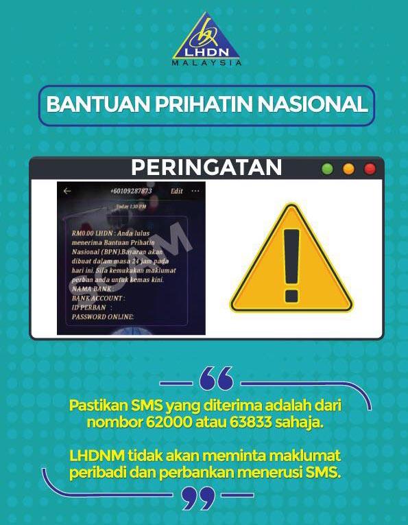 Bantuan Prihatin Nasional BPN genuine SMS numbers