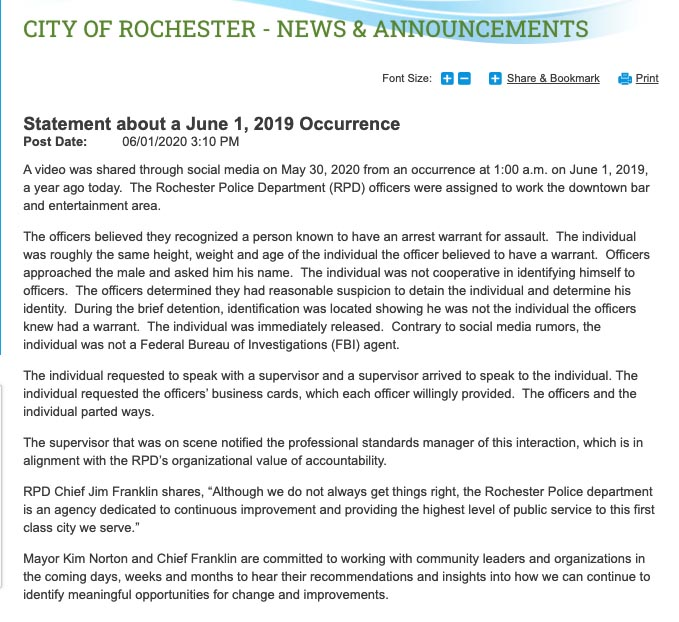 City of Rochester clarification