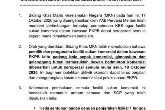 KBS Malaysia - CMCO PKPB sports facilities allowed 01