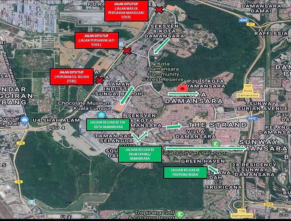 Kota Damansara COVID-19 road closure map