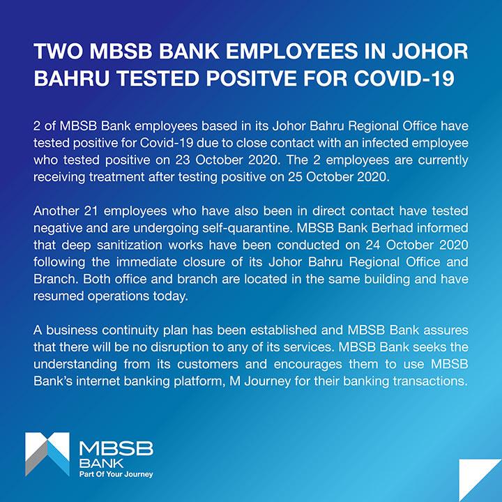 MBSB Johor Bahru COVID-19 statement