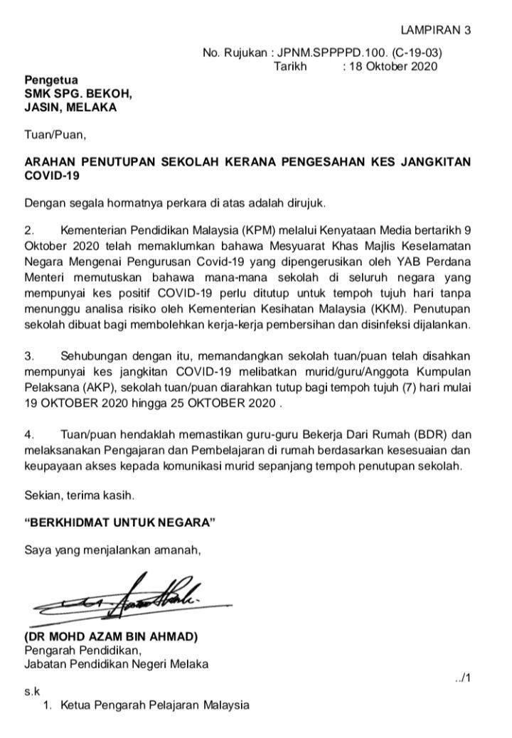SMK Simpang Bekoh COVID-19 statement