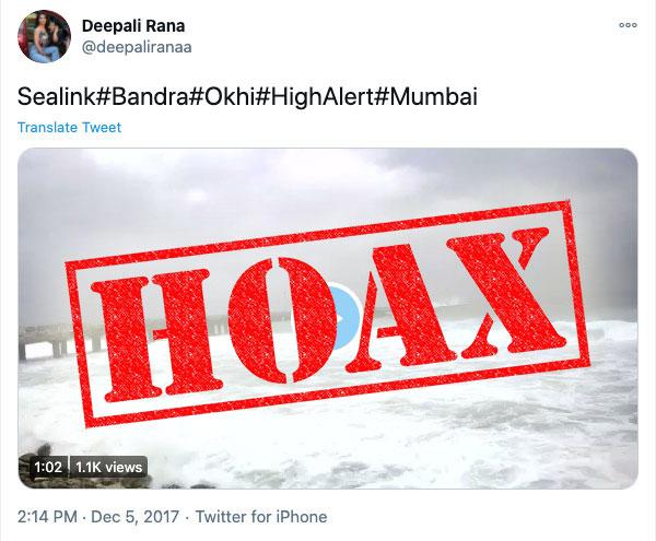 Deepali Rana false tweet on Sealink waves hoax