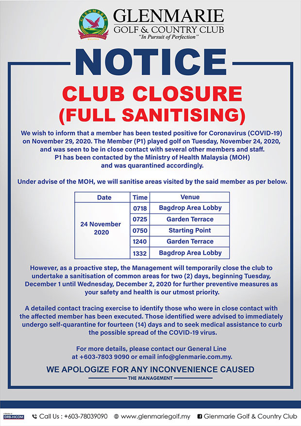 Glenmarie Golf Club : Closed After COVID-19 Exposure!