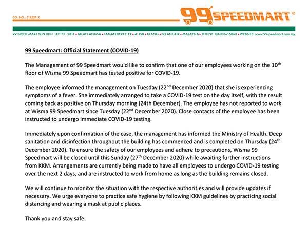 Wisma 99 Speedmart COVID-19 statement
