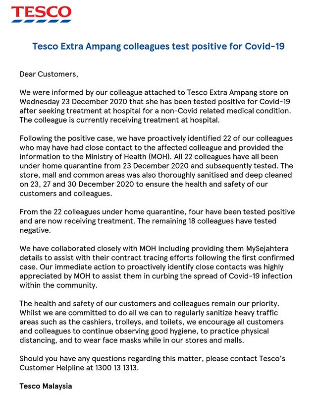 Tesco Ampang : 5 Employees Positive For COVID-19!
