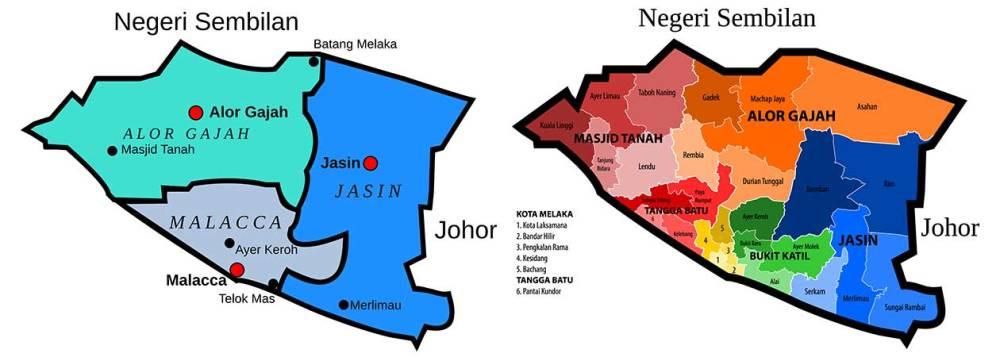 Melaka district maps