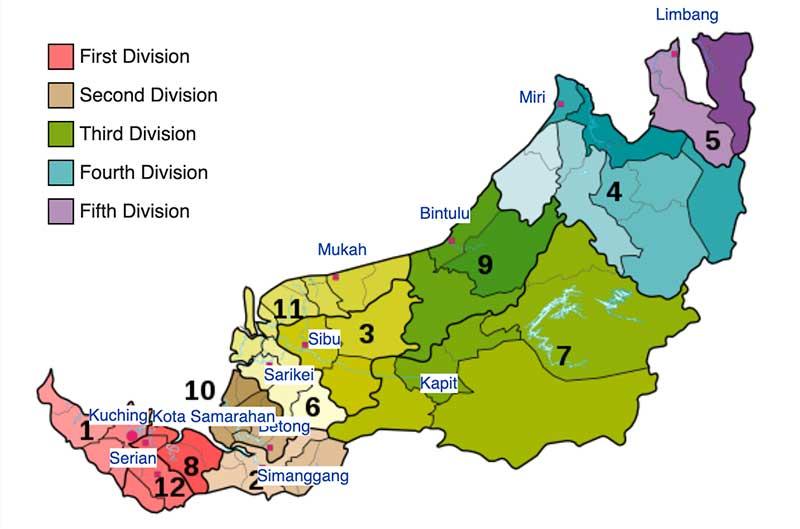 Sarawak District Map