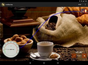 meBarista Android. The dial shows the boiler gain.