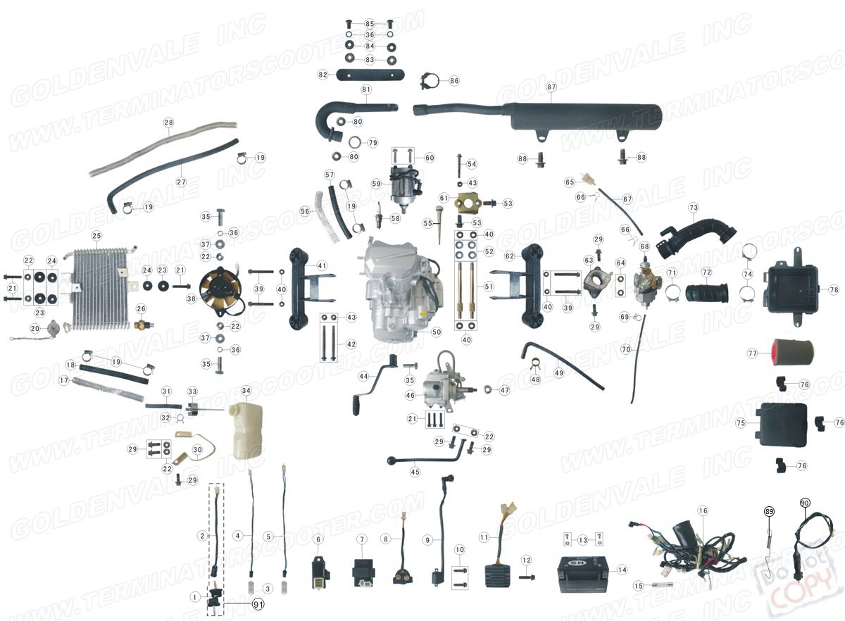Roketa Atv 02 Engine Wiring And Exhaust Parts