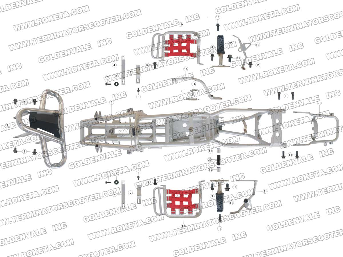 Roketa Atv 03 110 Frame Parts