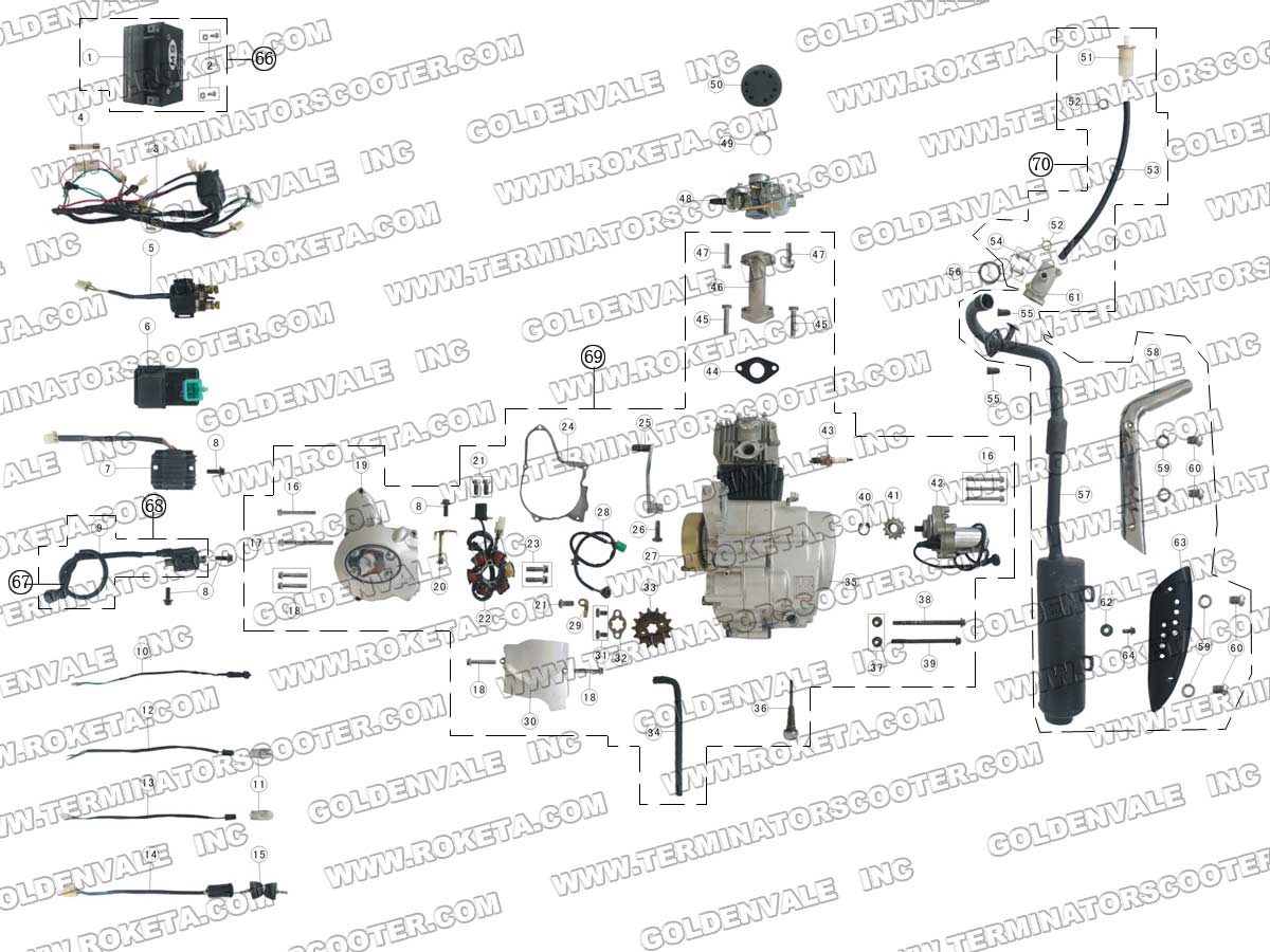 Roketa Atv 03 110 Engine Wiring And Exhaust Parts