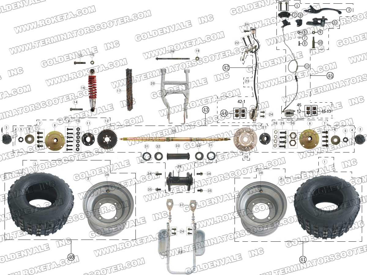 Roketa Atv 03 110 Rear Wheel Assembly Parts