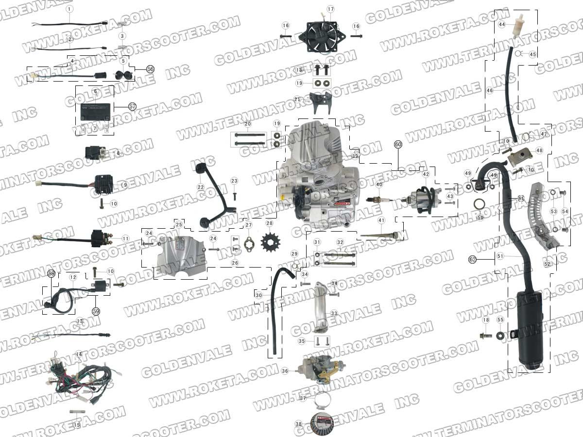 Roketa Atv 03 200 Engine Wiring And Exhaust Parts