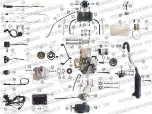 ROKETA ATV04200 ENGINE, WIRING AND EXHAUST PARTS