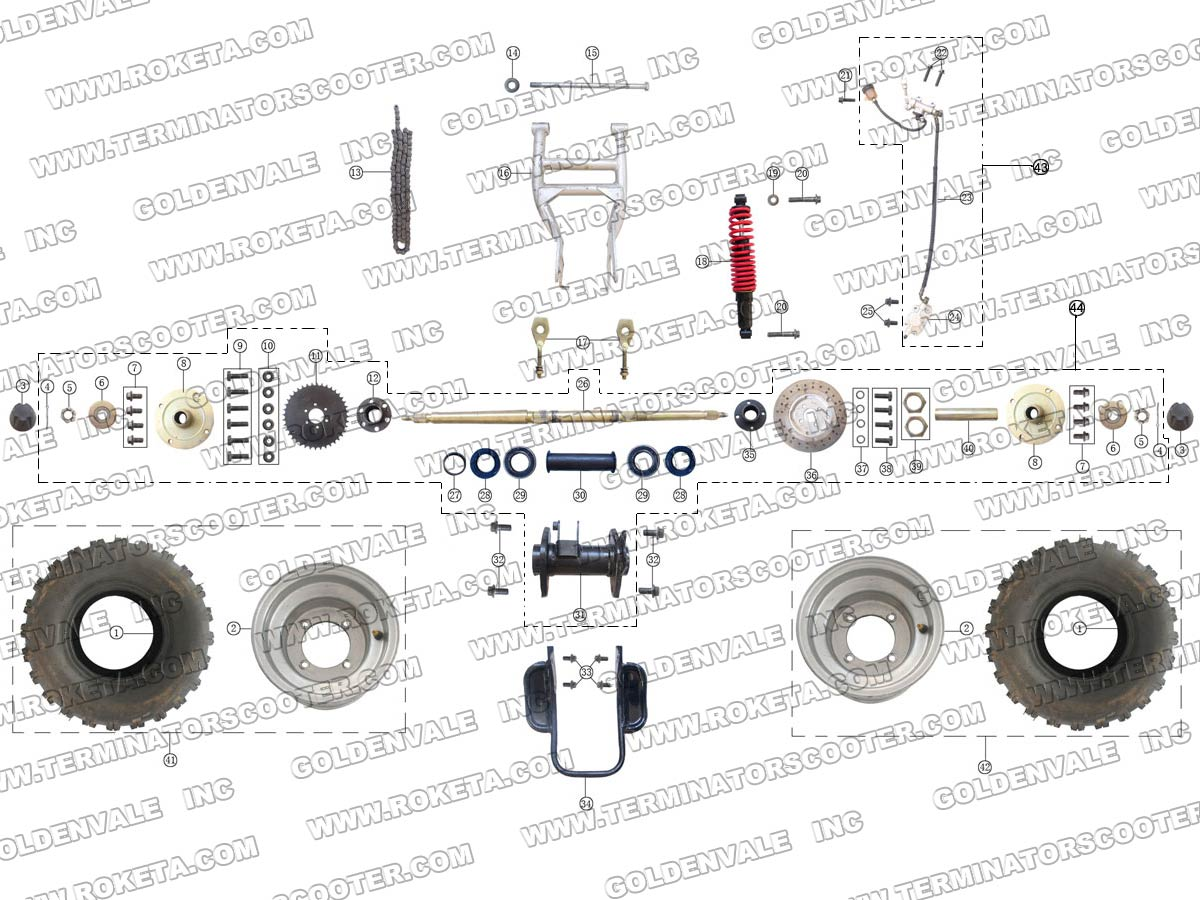Roketa Atv 04 200 Rear Wheel Assembly Parts