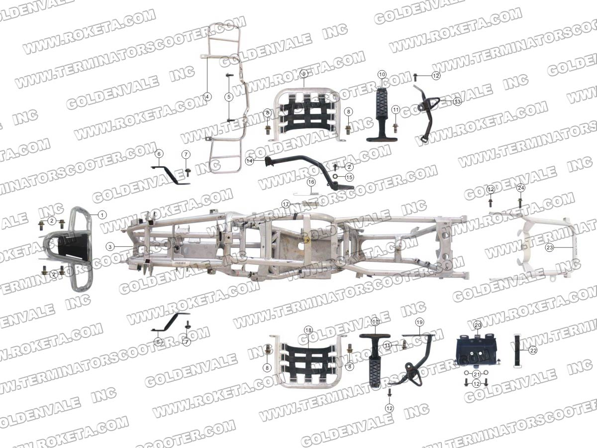 Roketa Atv 04 250 Frame Parts
