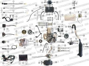 ROKETA ATV04250 ENGINE, WIRING AND EXHAUST PARTS