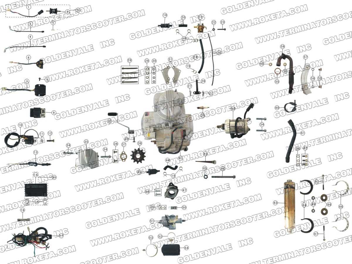Roketa Atv 06 Engine Wiring And Exhaust Parts
