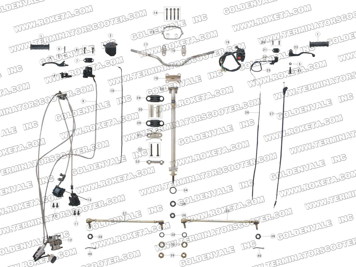 Roketa Atv 06 Steering Assembly Parts