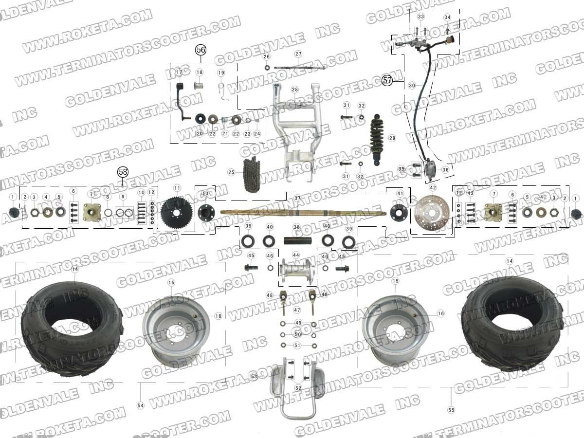 Roketa Atv 09 Rear Wheel Assembly Parts