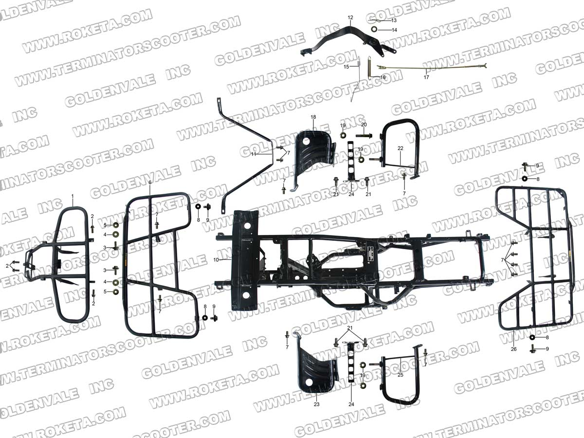 Roketa Atv 10 Frame Parts