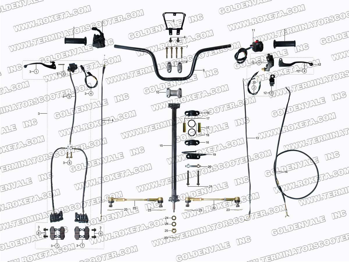 Roketa Atv 10 Steering Assembly Parts