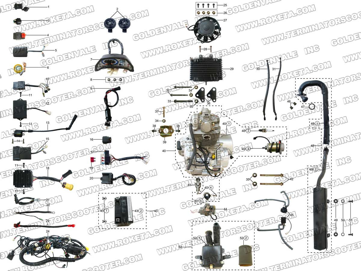 Roketa Atv 11 Engine Wiring And Exhaust Parts