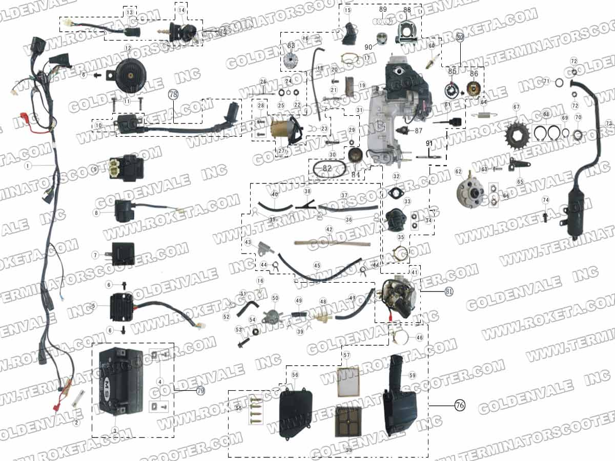 Roketa Atv 17w Engine Wiring And Exhaust Parts