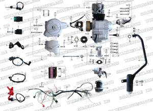 ROKETA ATV32 ENGINE, WIRING AND EXHAUST PARTS