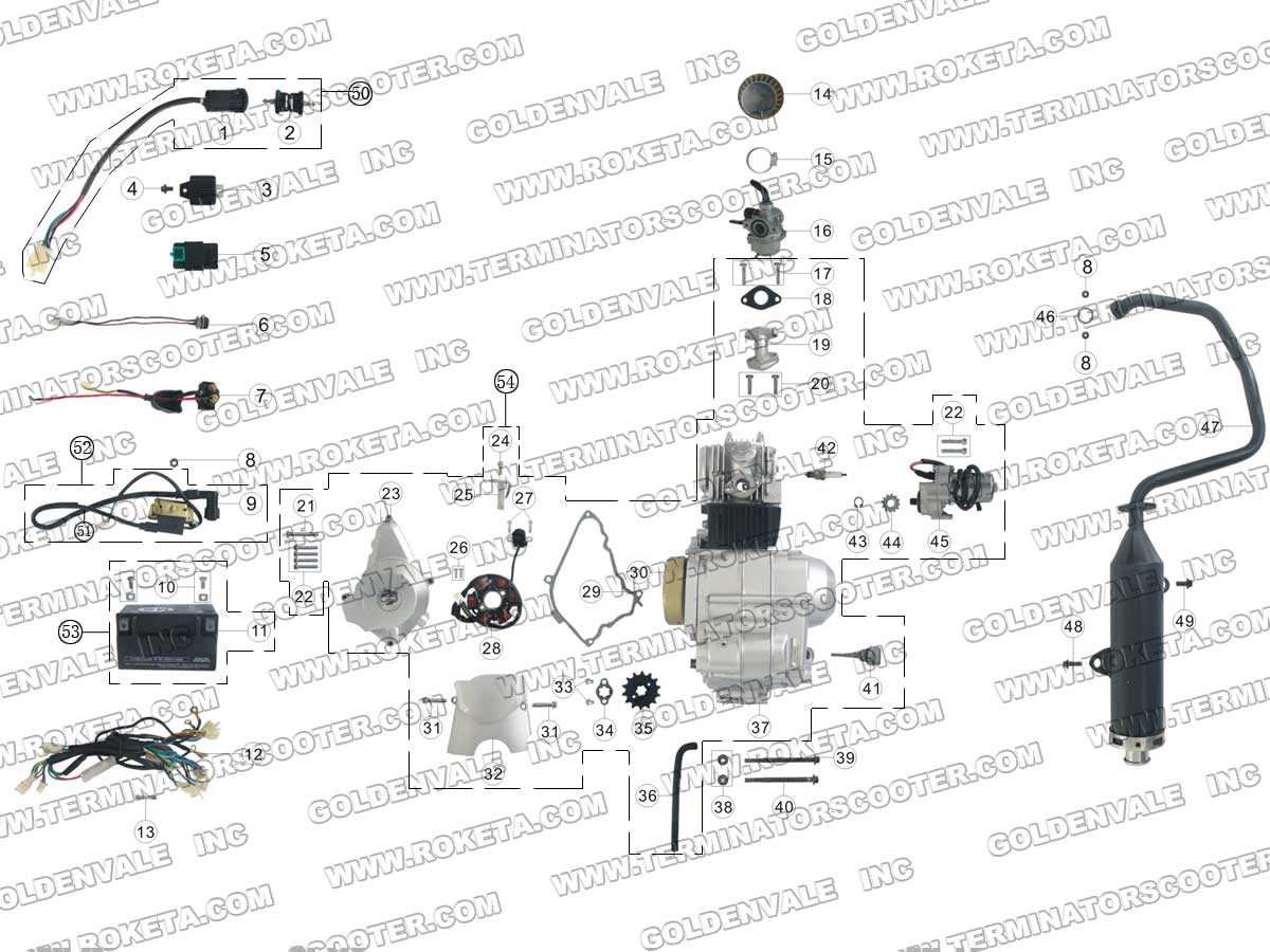 Roketa Atv 40 Engine Wiring And Exhaust Parts