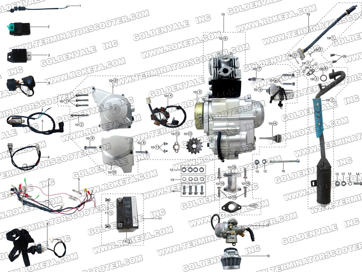 Roketa Atv 69 Engine Wiring And Exhaust Parts