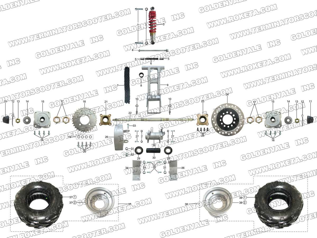 Roketa Atv 69 Rear Wheel Assembly Parts