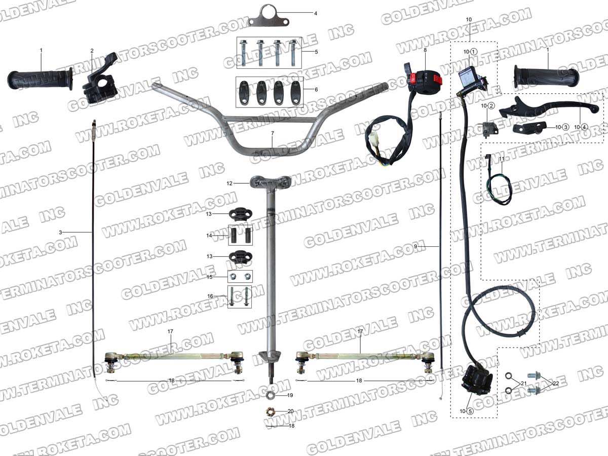 Roketa Atv 69 Steering Assembly Parts