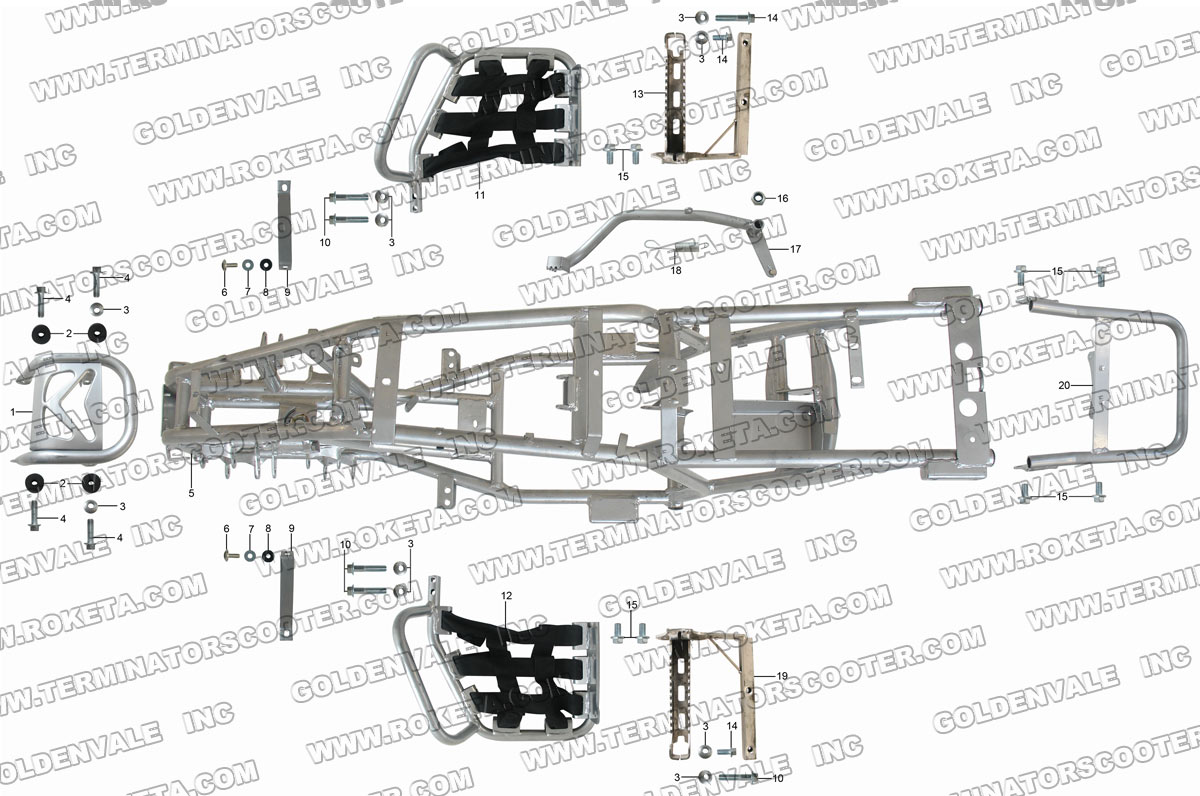 Roketa Atv 78 Frame Parts