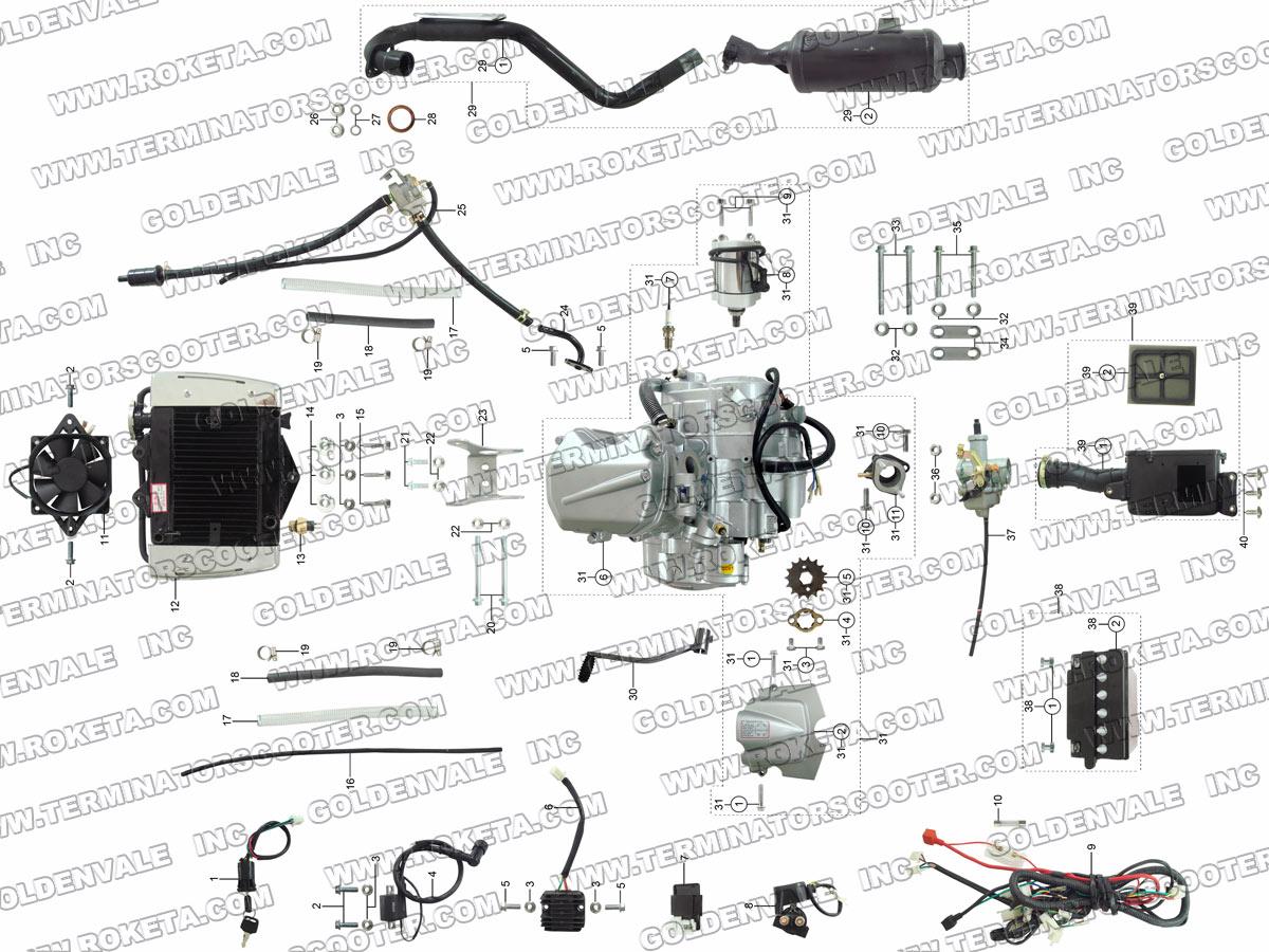 Roketa Atv 78 Engine Wiring And Exhaust Parts
