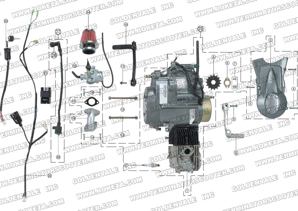 Roketa Db 30a Engine And Wiring Parts