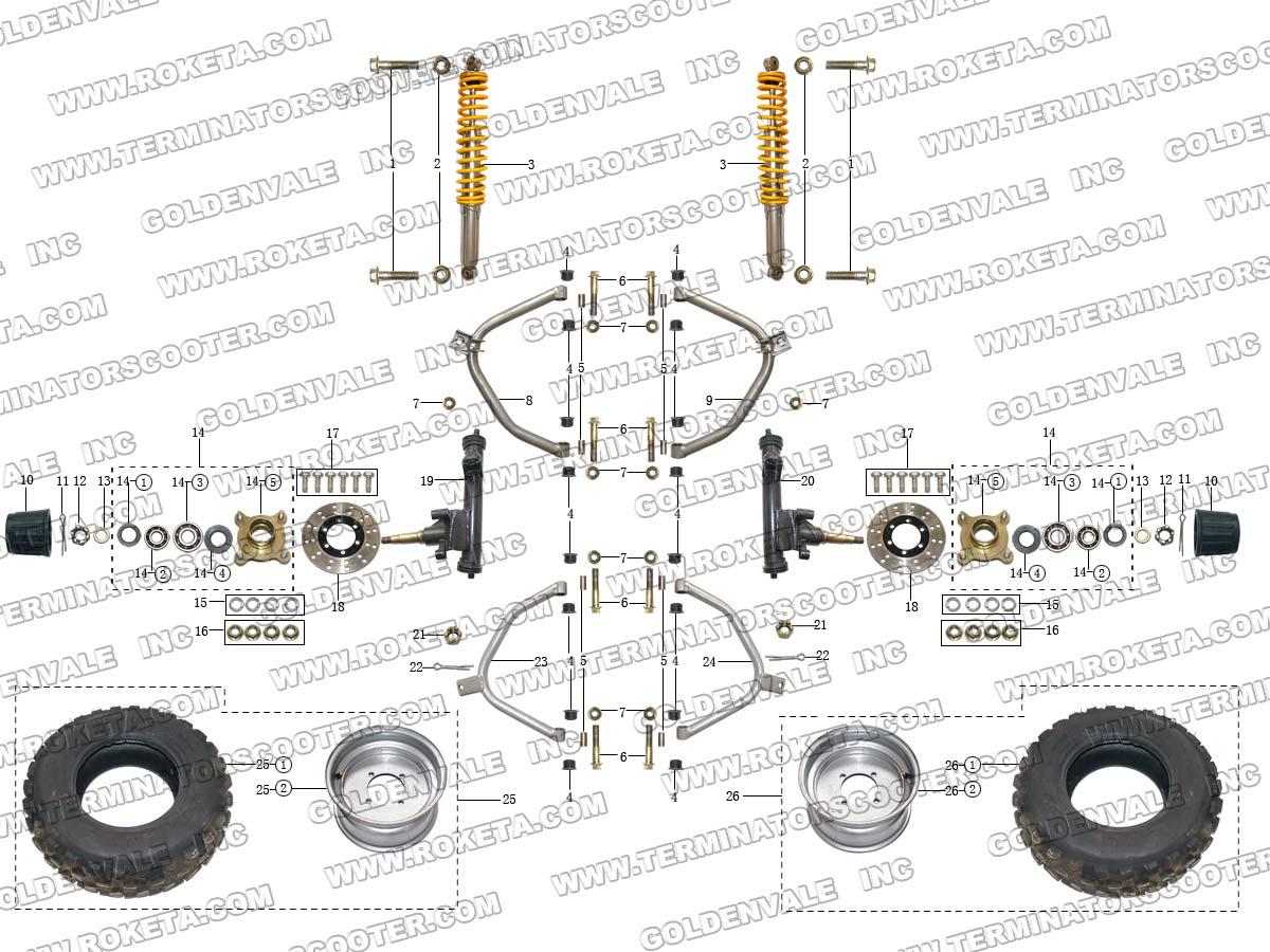 Roketa Gk 28 Front Wheel Assembly Parts