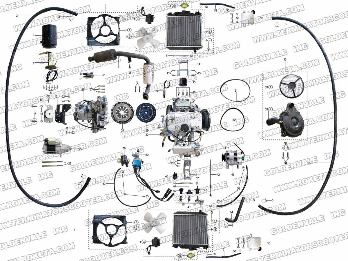 Roketa Gk 40 Engine And Exhaust Parts