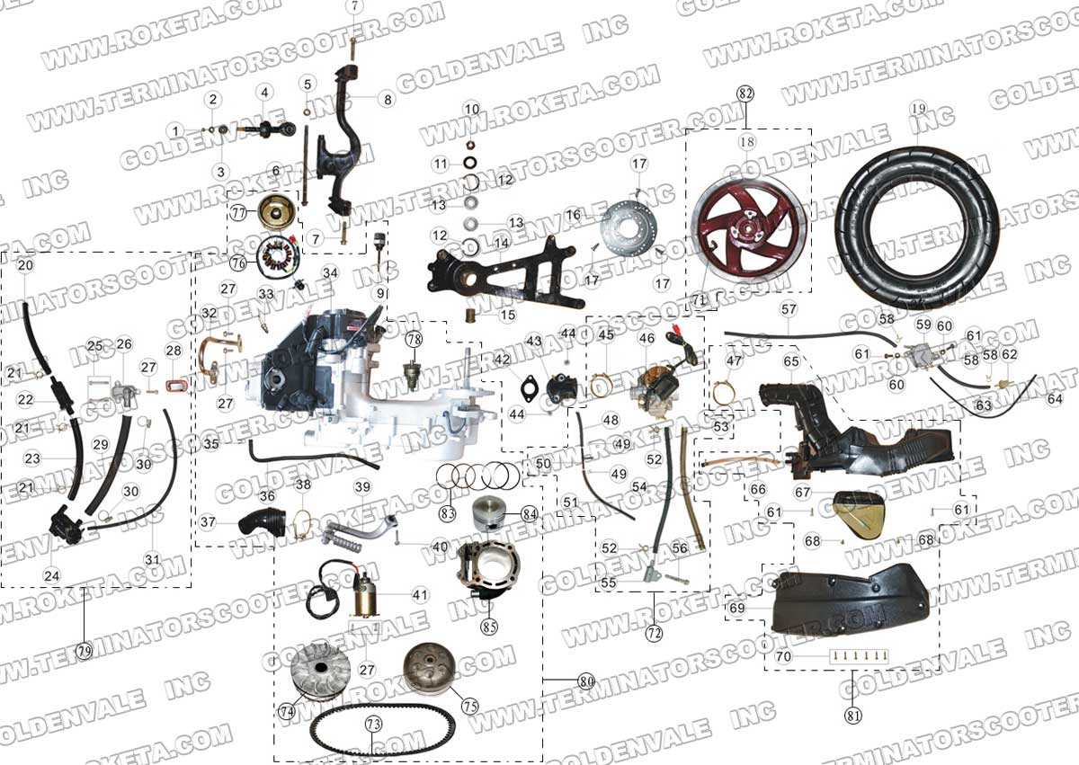 Roketa Mc 13 150 Engine And Rear Wheel Assembly Parts