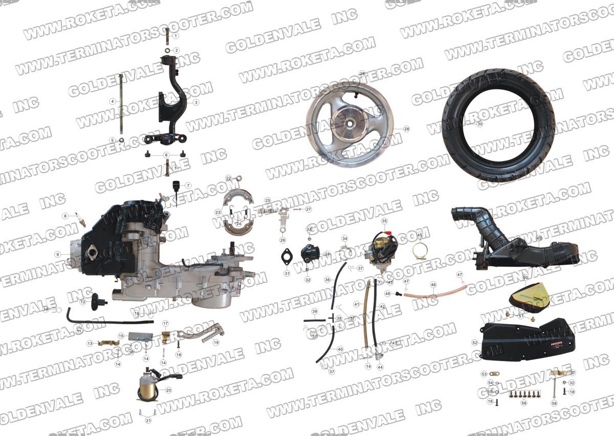 Roketa Mc 16 150 Engine And Rear Wheel Assembly Parts