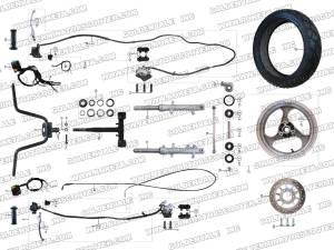 ROKETA MC54B250 STEERING ASSEMBLY PARTS