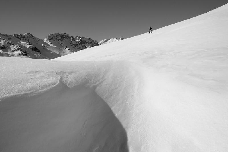 Heading up on the open slopes near Salbithütte