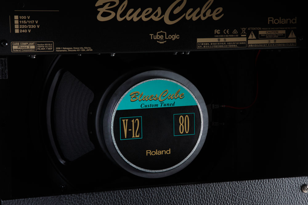 The Blues Cube Hot is equipped with a custom 12-inch speaker.