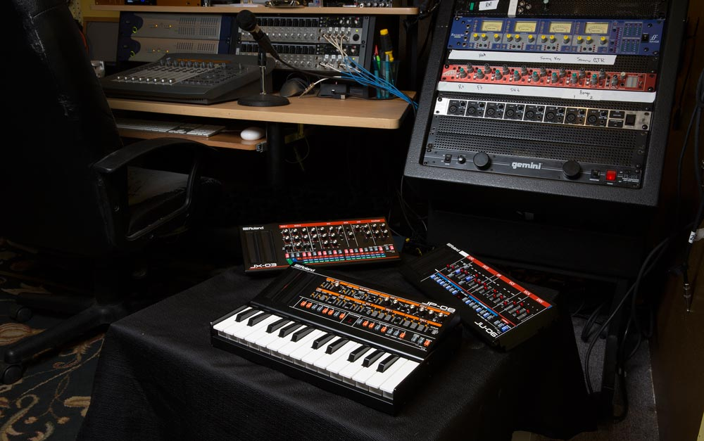 Roland Boutique modules in the studio