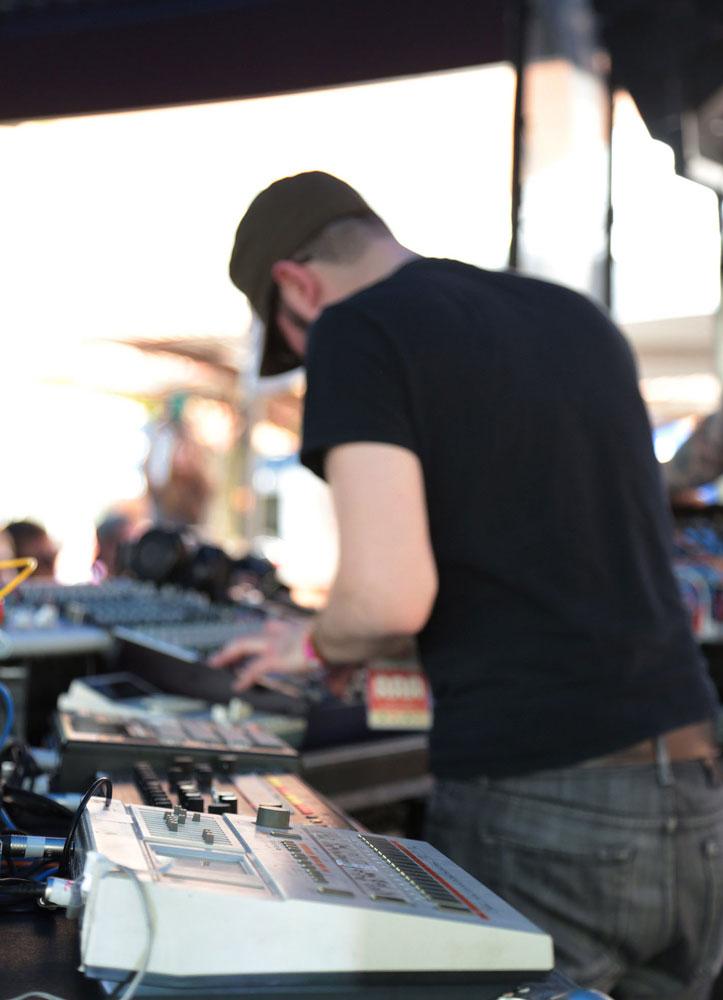 MSTRKRFT onstage at Southwest Invasion with Roland's classic TR-909 drum machine