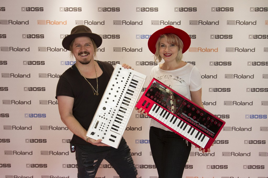 Lisa Harriton and Joshua Bartholomew with custom white and red JD-Xi synths on a recent visit to the Roland U.S. office.