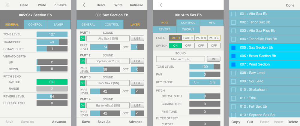 Screenshots from the Aerophone Editor app for iOS and Android devices.