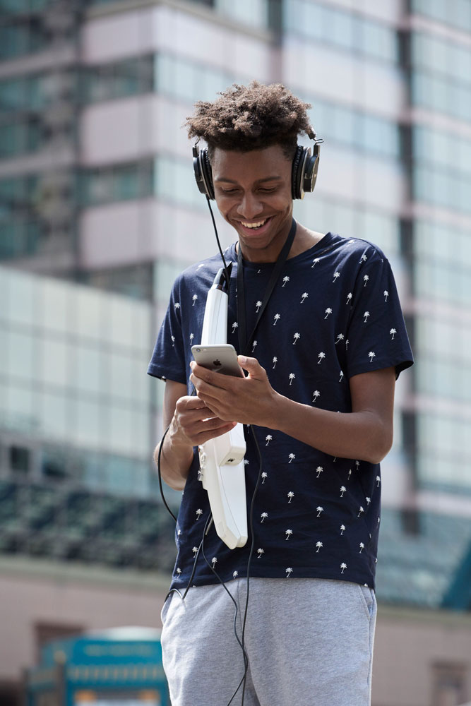 The Aerophone AE-10 can be played anywhere with headphones or onboard speakers.